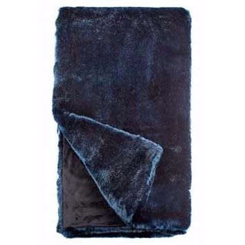 Steel Blue Mink Couture Faux Fur Throw Blanket by Fabulous Furs