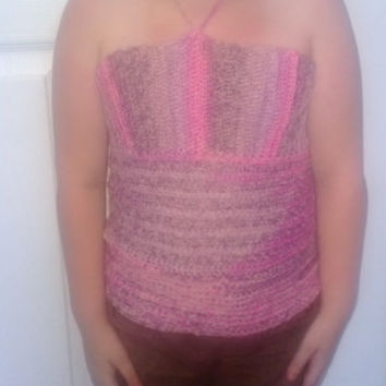 Ready to ship, Crochet Baby, Girl's, teen Halter Top, Size 6-8. Color Pink SugarWith Matching Headband.