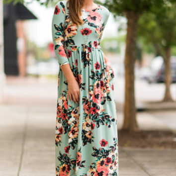 Promised Perfection Maxi Dress, Mint