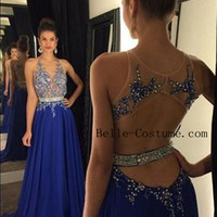 Royal Blue Backless Prom Dresses, Blue Prom Dress, Formal Evening Dresses