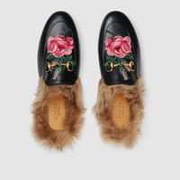 GUCCI Princetown Flower Embroidered Black Leather Slipper