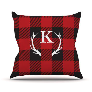 "KESS Original ""Red Plaid Monogram"" Throw Pillow"