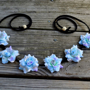 Rose Flower Crown Blue Floral Halo Headband Headpiece Silver Blue Bohemian Headpiece Flower Halo Floral Crown Rose EDM EDZ Ezoo Bonnaroo