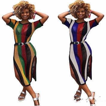 Summer Women Round Neck Mesh Sheer Long Party Dress High Side Slit Hollow Out Short Sleeve Colorful Bodycon Sexy