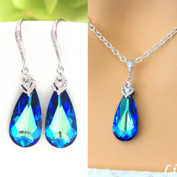 Swarovski Bermuda Blue Crystal Necklace & Earrings Set Teal Blue Something Blue Peacock Jewelry Bridesmaid Maid of Honor Gift BB33JS
