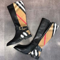 Burberry Fashion Women Classic House Check String Leather Shoes Boots