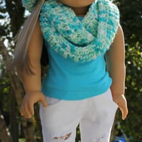 beret style crochet slouch hat with infinity scarf, blue, green and white mix, 18 inch doll clothes American girl Maplelea