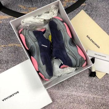 DCCK Balenciaga Women's Leather Triple S 2.0 Sneakers Shoes