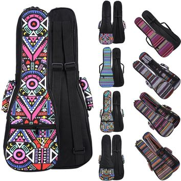 21 23 26 Inch Double Strap Hand Folk Canvas Ukulele Carry Bag Cotton Padded Case For Ukulele Guitar Parts Accessories National