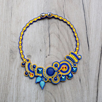Colorful soutache necklace. Handmade OOAK soutache jewelry.