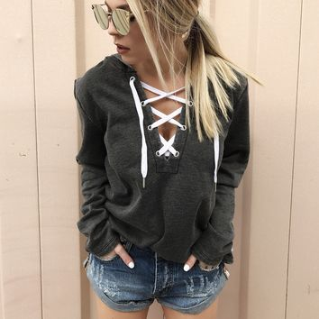 V-Neck LaceUp Hoodie Top