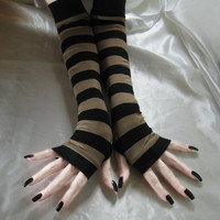 Striped Arm Warmers Fingerless gloves Gothic Glove armwarmers - Bistre - Goth Steampunk Belly Dance Stripes Black Brown Beige gypsy nior emo