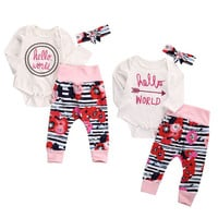 Baby Girl Clothes Hello World Romper