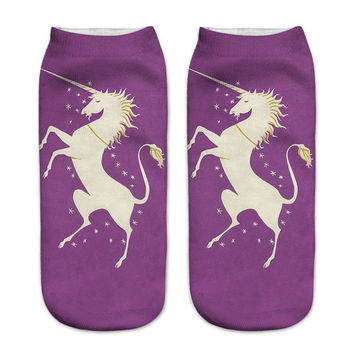 Women Cartoon Ankle Socks Pretty Purple Unicorn