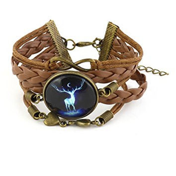 Stag Deer Spirit Infinity Charms Bracelet Gold Tone BD51 Brown Faux Leather Vintage Cabochon Jewelry