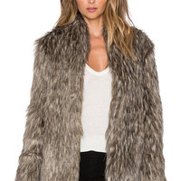 Lovers + Friends Selena Faux Fur Coat in Brown