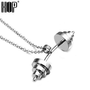 Three Color Titanium Stainless Sport Fitness Barbell  Pendant