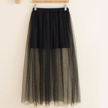 2017 Women Sexy Lace Skirts Womens Fashion Long Section Skirt Jupe Tulle Black and White Short New SummerSkirt MZ507