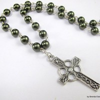 Celtic Cross with Green Pearls Necklace in Silver