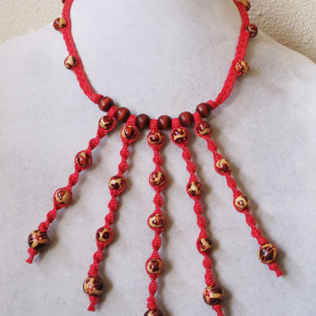 Wood Bead Square Knot Twist Red Hemp Necklace