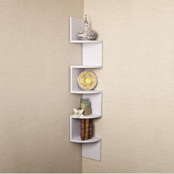 Large Corner Zig-Zag Wall Shelf- White Laminate