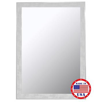 Hitchcock Butterfield Scratched Wash White And Silver Trim Framed Wall Mirror 8049000