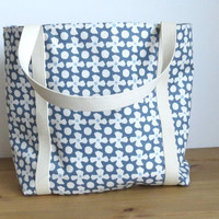 Shoulder Bag Fully Lined in Blue Spots, Knitting Project Bag,  Present for Mum,  Weekend Bag, Holiday Carryall For The Beach, Picnic or Work