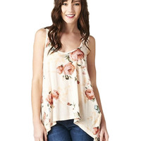 Bed of Roses Floral Tank - Pink/Blush