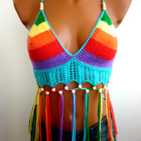 Rainbow Beads Wood Sexy Crochet Bra Halter Top Fringes Crop Top Tank Art Bikini Top Bandeau Top Green Retro