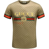 GUCCI new tide brand fashion short-sleeved F-A00FS-GJ coffee