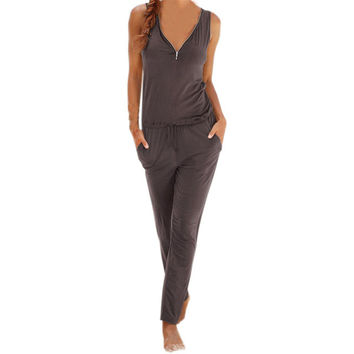 Women's Mocha/Coffee Brown Casual V-Neck Zipper Accent Sleeveless Pantsuit Romper Leisure Set