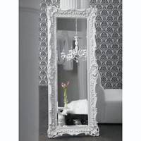 wall decor, mirror, mirrors, ruffle edge, wood frame, white