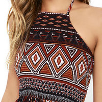 Candle Light Brown Print Halter Dress