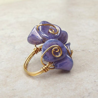Flower Bouquet Ring:  Lilac Purple Lavender Mother's Day Jewelry, Gold Wire Wrapped Floral Cluster Ring, Size 7