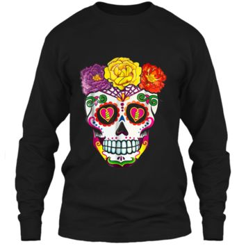 Colorful Flower Sugar Skull Day Of The Dead Costume  2 LS Ultra Cotton Tshirt