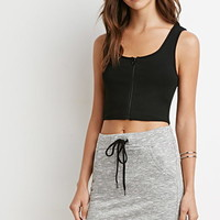 Marled Knit Drawstring Skirt