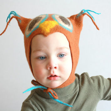 Owl hat - kid hat - felted wool baby children hat - brown blue hat