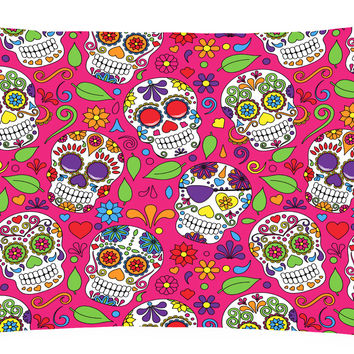 Day of the Dead Pink Canvas Fabric Decorative Pillow BB5115PW1216