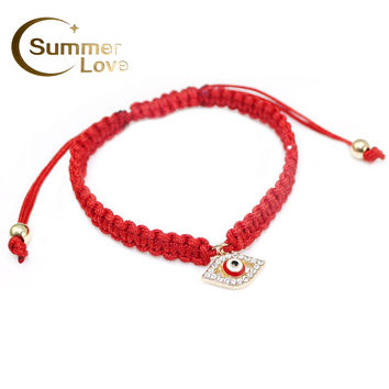High Quality Turkish Lucky Evil Eye Bracelets For Women 3 Colors Handmade Braided Rope Lucky Jewelry Red Thread Bracelet Female