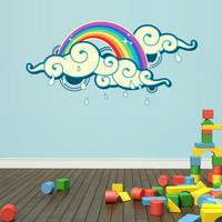 Full Color Wall Decal Mural Sticker Decor Art Beautyfull Cute Clouds Rainbow Rain Kids Nursery (col571)