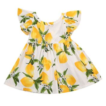 Cotton White Blue Lemon Baby Girl Summer Holiday Wedding Tutu Dresses Enfant Toddler Girls Print Lovely Dress Sundress