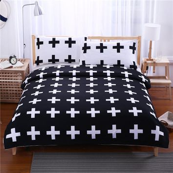 BeddingOutlet Black and White Crosses Bedding Set Bedclothes Super Soft Duvet Cover with Pillowcases