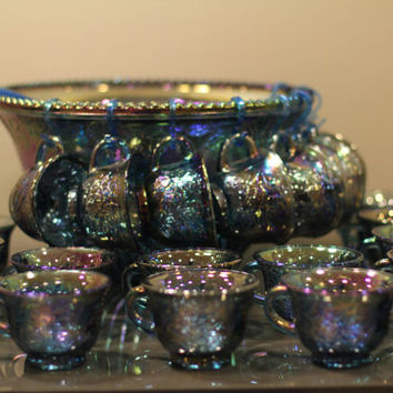 Vintage Iridescent Carnival Glass Punch Bowl Set