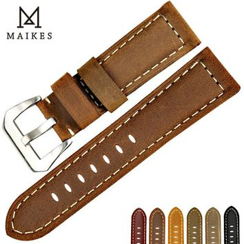 MAIKES New design vintage watch band for Fossil Genuine leather watch strap brown watch accessories for Panerai watchband