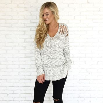 Meant To Be Speckled Knit Sweater