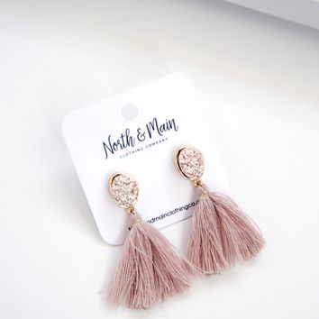 Drew Tassel Earrings, Rose