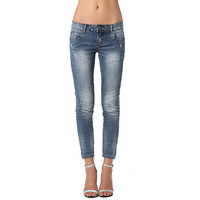 Skinny Ankle Jeans with Rips