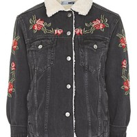 PETITE Rose Embroidered Borg Jacket - Jackets & Coats - Clothing