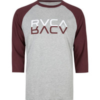 Rvca Reflections Mens Baseball Tee Heather Grey  In Sizes