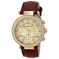 Open Box - Michael Kors Chronograph Gold Dial Ladies Watch MK2249